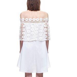 Self-Portrait Dresses - Self Portrait Serena Panelled Poplin Off Shoulder